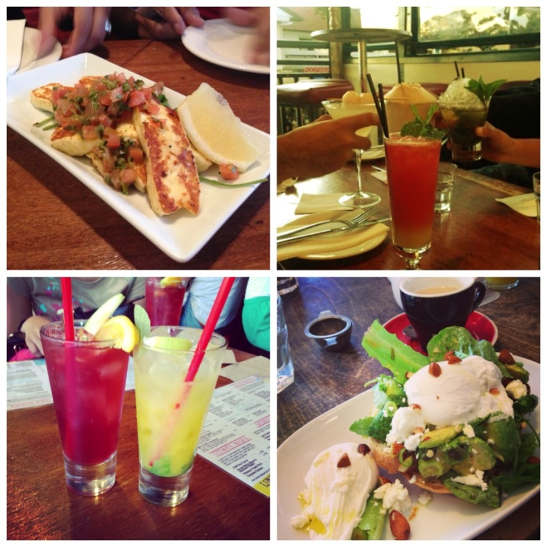 Clockwise from top left: haloumi at The Balcony, drinks @ The Balcony, poached eggs w avocado salsa @ Bayleaf Cafe, mango & mint and sangria at Miss Margarita