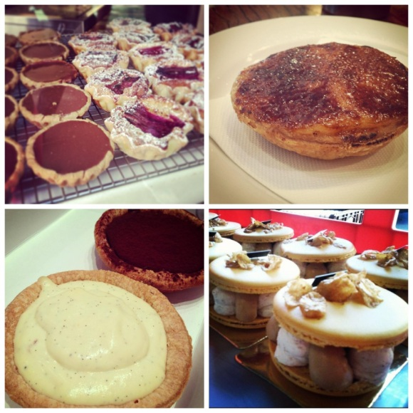 Clockwise from top left: tarts on display at the Bourke Street Bakery, lemon curd brulee tart from the Bourke Street Bakery, salted caramel, cereal, rice pudding & balsamic banana macaroons from Adriano Zumbo (photo credit to AZ), pannacotta and dark chocolate tarts from the Sydney Baking Depot