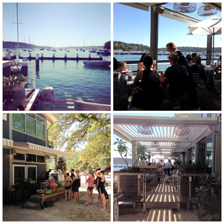 Clockwise from top left: view from the back, the deck, the deck area, the takeaway coffee shop at the back