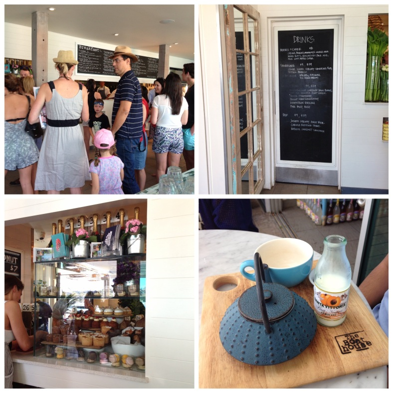 Clockwise from top left: the queue to order, drinks menu, counter with sweet goodies, beautifully presented English breakfast tea