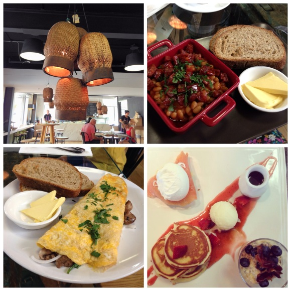 Clockwise from top left: the unique decor, baked beans & chorizo, breakfast tasting plate, 3 egg omelette