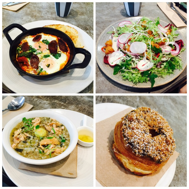 Clockwise from top left: baked eggs, popcorn prawn salad, chocolate glazed cronut, buckweat porridge w trout