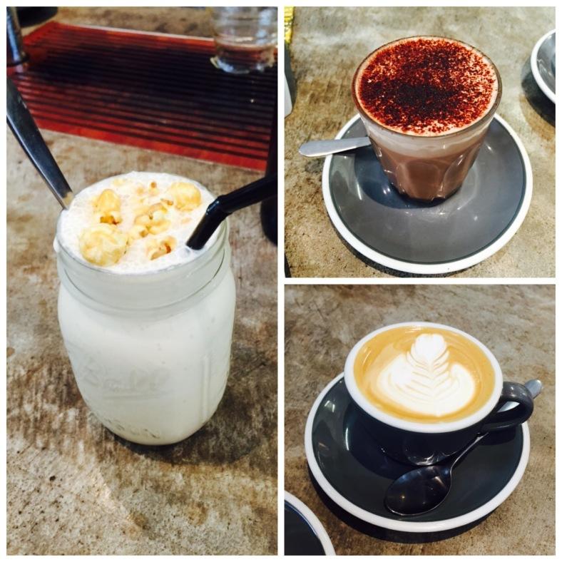 Clockwise from left: caramel popcorn milkshake, hot chocolate, latte