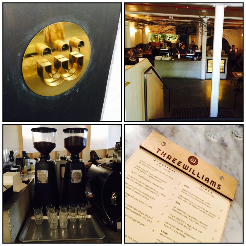 Clockwise from top left: name plate at entrance, industrial interior, menu, brew