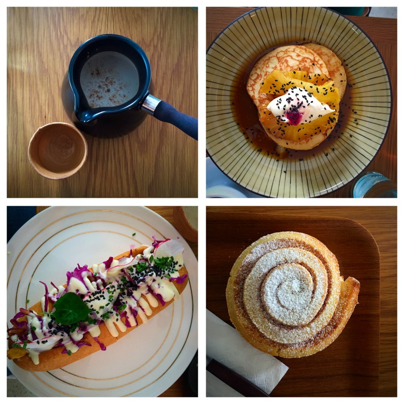 Clockwise from top left: chai, hot cakes, cinnamon scroll, porco rollo