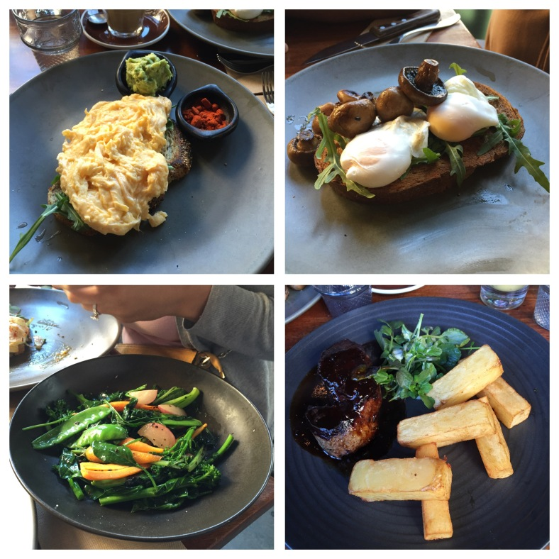 Clockwise from top left: scrambled eggs with avo and paprika, poached eggs with mushrooms, the steak, side of vegetables