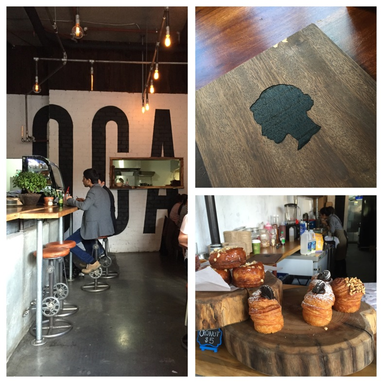 Clockwise from left: the interior (notice the pedals at the bottom of the stools!), the menu and cronuts on the counter